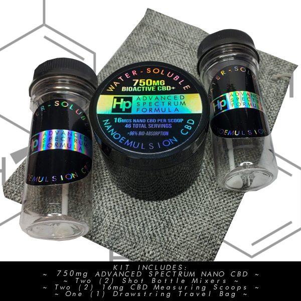 hemptium water soluble 750 mg nano cbd therapeutic bioactive powder kit